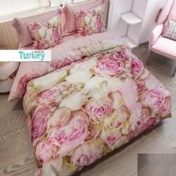 Seturi Else galben roz frunze de trandafiri 3D dublă Duvet