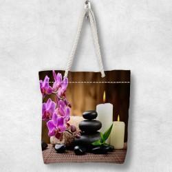 Else Spa Purple Flowers 3d Patterned Fabric fermoar umăr geanta