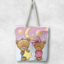 Else stele ursuleții de pluș 3d Patterned Fabric fermoar umăr geanta
