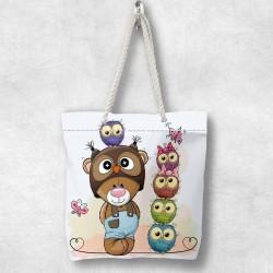 Else ursuleț de pluș Owls 3d Patterned Fabric fermoar umăr geanta