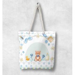 3d albastru ursuleții de pluș Else Patterned Fabric fermoar umăr geanta