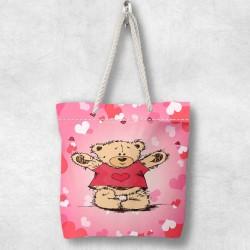 Else Urșii inimile 3D Patterned Fabric fermoar umăr geanta