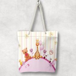 Roz ursuleții de pluș pentru copii Else 3d Patterned Fabric umăr geanta cu fermoar