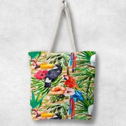 Else Tropical Papağanl 3d Patterned Fabric cu fermoar umăr geanta