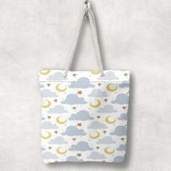 Else stele Cloud Gray 3d Patterned Fabric fermoar umăr geanta