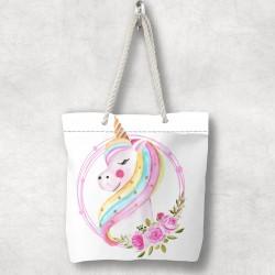 Montat Unicorn 3D Else Patterned Fabric fermoar umăr geanta