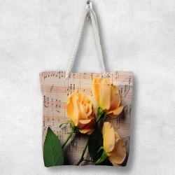 Else Yellow Roses 3D Patterned Fabric fermoar umăr geanta