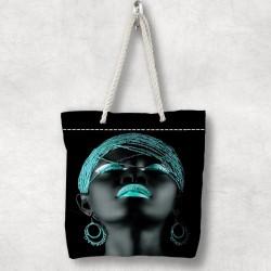 fată arabă Else verde 3d Patterned Fabric cu fermoar umăr geanta