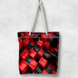 Red Else Black Box 3d Patterned Fabric fermoar umăr geanta