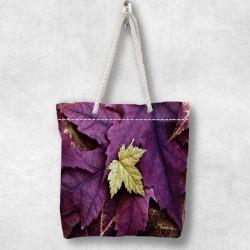 frunze violet Else 3d Patterned fermoar Fabric umăr geanta
