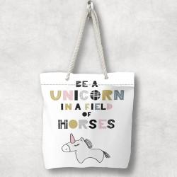 Scris 3d Unicorn Else Patterned Fabric umăr geanta cu fermoar