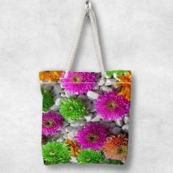 Else verde roz model floral 3d cu fermoar Fabric umăr geanta