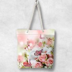 Else trandafiri roz 3D Patterned Fabric cu fermoar umăr geanta