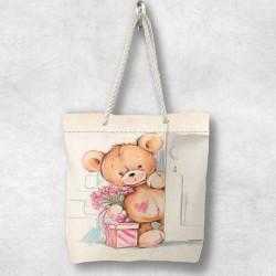 Else ursuleții de pluș Boxed 3d Patterned Fabric fermoar umăr geanta