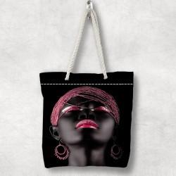fată arabă Else roz 3d Patterned Fabric cu fermoar umăr geanta