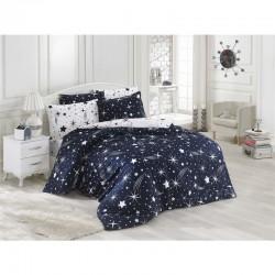 Set de lenjerie de pat ușor de călcat. Single Halley bleumarin