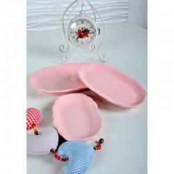 Ceramică 3 buc. Farfurie ovale 19-22-25 Cm  Roz deschis