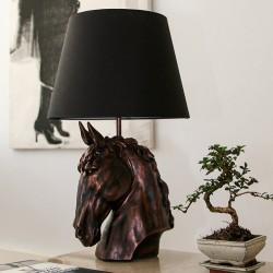 Abajur Vioză cu cap de cal / Negru Albastru Alb Gold bej